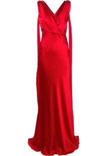 Alberta Ferretti Vestido Decote V De Seda - Vermelho