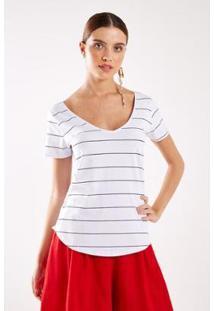Tshirt Malha Listras Decote V Sacada Feminina - Feminino-Branco