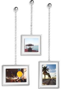 Conjunto De Porta-Retratos Pendente Chain Prateado