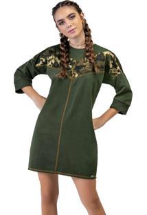 Vestido Moletom Recorte Verde