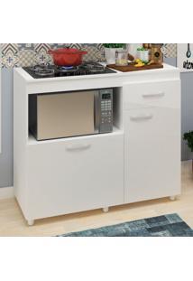 Armário De Cozinha Balcão Para Forno E Cooktop Roma Branco - Pnr Móveis