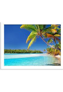 Quadro Decorativo Coqueiro De Praia Tropical Branco - Médio