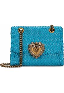 Dolce & Gabbana Bolsa Transversal Devotion Com Padronagem Transçada - Azul