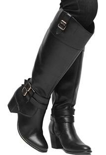 Bota Couro Montaria Shoestock Fivelas Feminina - Feminino-Preto