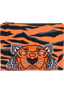 Kenzo Embroidered Tiger Clutch - Laranja