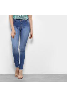 5649bf69f8 ... Calça Jeans Skinny Coca-Cola Barra Desfiada Cintura Média Feminina -  Feminino-Azul