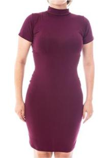 Vestido Moda Vicio Justo Manga Curta Gola Alta Feminino - Feminino-Vinho