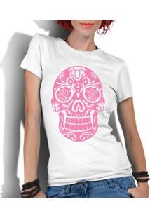 Camiseta Criativa Urbana Caveira Mexicana Rosa Branco