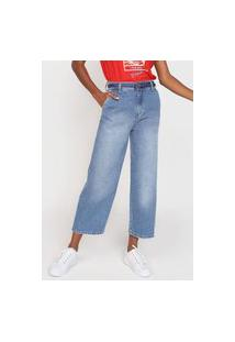 Calça Jeans Cantão Pantacourt Pespontos Azul