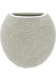 Vaso De Parede Floral- Verde Claro- 14X12,7X3,5Cm