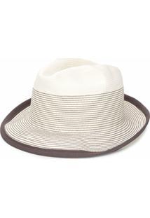 Peserico Chapéu De Palha Listrado - Branco