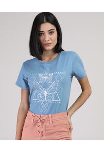 Blusa Feminina Borboletas Manga Curta Decote Redondo Azul Claro
