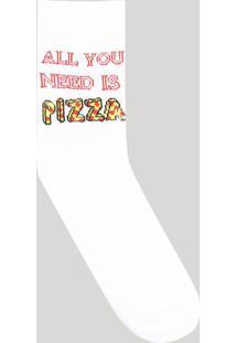 "Meia Masculina Cano Alto Divertida ""All You Need Is Pizza"" Branca"
