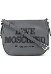Love Moschino Bolsa Tiransversal Com Bordado De Logo - Cinza