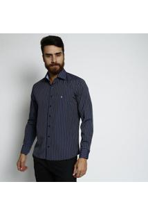 Camisa Slim Fit Listrada Com Bordado - Azul Marinho & Civip Reserva