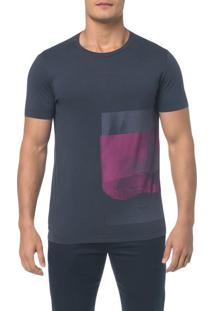 Camiseta Slim Estampa Latewrla - Marinho - Pp