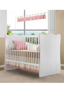 Berço Doce Sonho P/ Jogo De Quarto Infantil Bebê - Branco / Rosa (Cod 102)