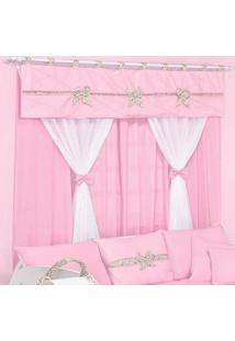 Cortina Dupla Padroeira Elegance - Rosa