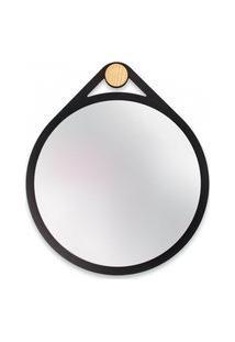 Espelho Decorativo Adnet Flat Preto 30 Cm Redondo