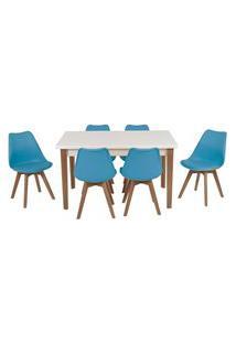 Conjunto Mesa De Jantar Luiza 135Cm Branca Com 6 Cadeiras Leda - Turquesa