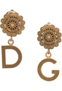 Dolce & Gabbana Par De Brincos Com Logo E Aplicações - Dourado