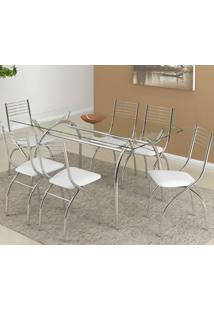 Conjunto De Mesa Com 6 Cadeiras Olivia Camurça Branco