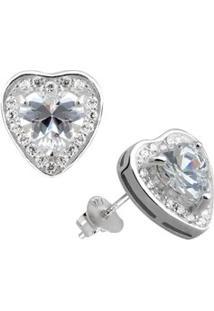 Brinco De Prata Rodinada Coração Com Pedra - Unissex-Prata