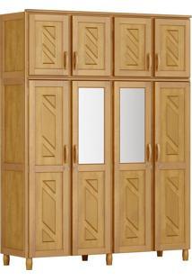 Guarda-Roupa Grécia Casal Mel Com Espelho 8 Portas Madeira Maciça De Pinus Cavazotto