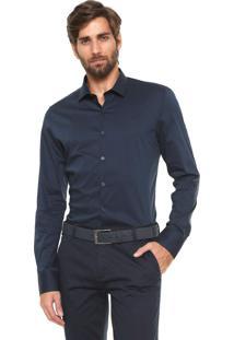 Camisa Calvin Klein Slim Cannes Azul-Marinho