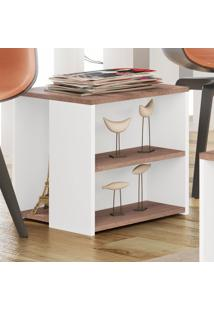Mesa De Canto Rk 3060 Rústico/Branco - Móvel Bento