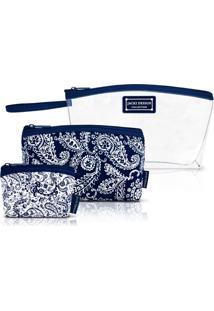 Kit Necessaire 3 Em 1 Tamanho P Paisley Jacki Design Mística Azul Marinho - Tricae
