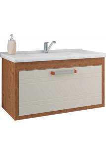 Gabinete Suspenso Para Banheiro Jade 44X79,3Cm Amêndoa E Off White
