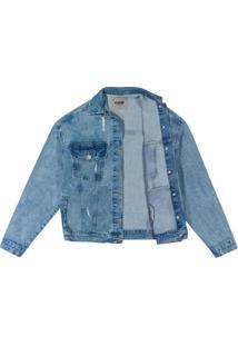 Jaqueta Azul Escuro Oversize Jeans