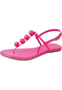 Sandália Rasteira Mercedita Shoes Verniz Neon Pink Bola Ultra Macia