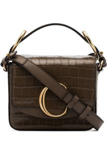 Chloé Brown C Mock Croc Mini Shoulder Bag - Marrom