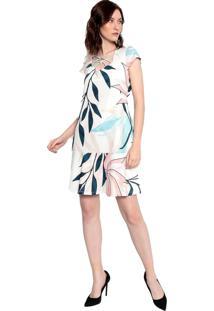 Vestido Malha Estampado Energia Fashion Natural/Colorido