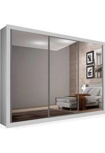 Armário 03 Portas De Correr 2,76 Espelho Total, Branco, Premium Plus Ii