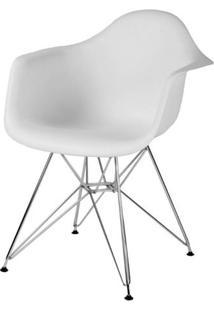 Cadeira Eames Com Braco Base Cromada Branco Fosco - 16531 Sun House