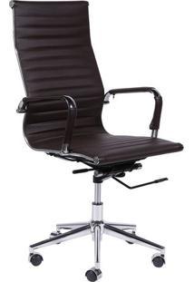 Cadeira Office Eames- Cafã© & Prateada- 114X61X46,5Cmor Design