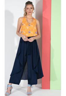 Blusa Floral Amarelo Com Amarração Nas Costas