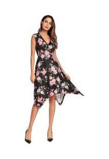 Vestido Assimétrico Estampa De Rosas E Decote V - Preto