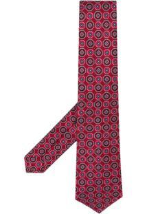 Kiton Gravata Com Padronagem Geométrica - Vermelho