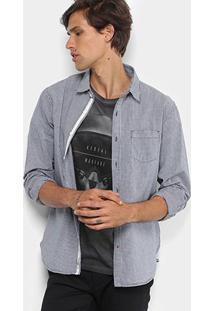 Camisa Xadrez Jab Slim Fit Masculina - Masculino-Marinho