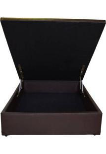 Cama Box Baú Master Box Viúva 110 X 188 Maior Abertura Do Mercado - Corino Marrom