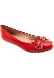 Sapatilha Verniz Bico Quadrado Sapato Show Feminino - Feminino-Vermelho