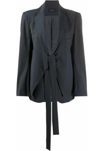 Low Classic Blazer Com Amarração Na Cintura - Azul