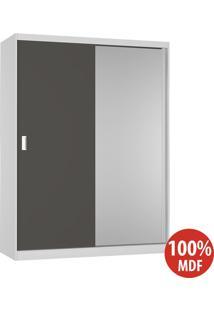 Guarda Roupa 2 Portas Com 1 Espelho 100% Mdf 383E1 Branco/Café - Foscarini