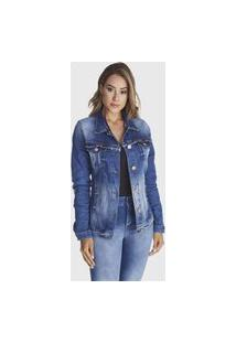 Jaqueta Jeans Zuren Stone Used Azul