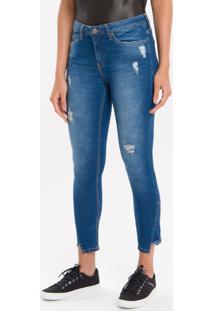 Calça Jeans Five Pockets Ckj 011 Mid Rise Skinny - Azul Médio - 34
