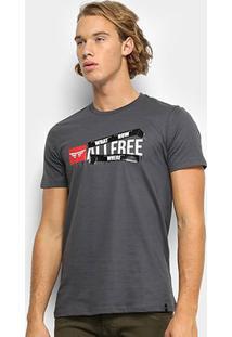 Camiseta All Free What How Where Masculina - Masculino-Cinza